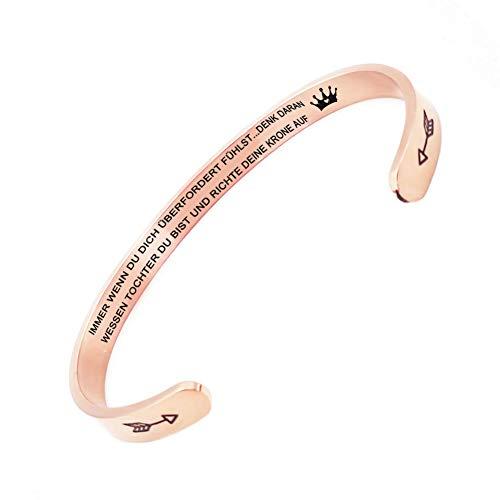 Welsky Begradigen Sie Ihre Krone Inspirierende Armband, Edelstahl Graviert Armreif Manschette Armband Geschenk Für Mädchen (Tochter-Roségold)