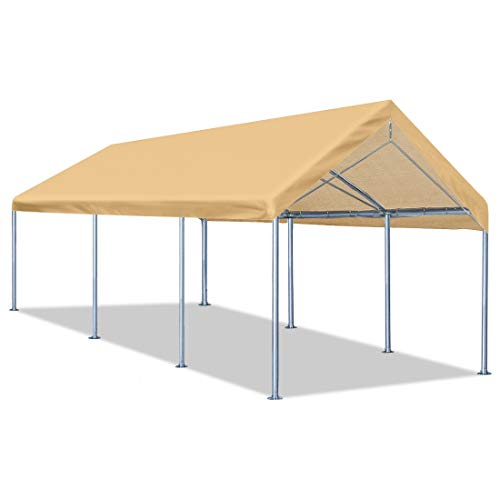 Quictent 10'x20' Heavy Duty Carport Car Canopy Galvanized Car Boat Shelter with 4 Reinforced Steel Cables-Beige