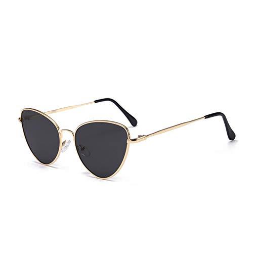 UKKD Gafas De Sol Mujeres Pequeña Vintage Gato Ojo Gafas De Sol Mujeres Vintage Rojo Negro Sol Gafas Hembra Damas Cateyes Sol Gafas De Sol-Gold Gray