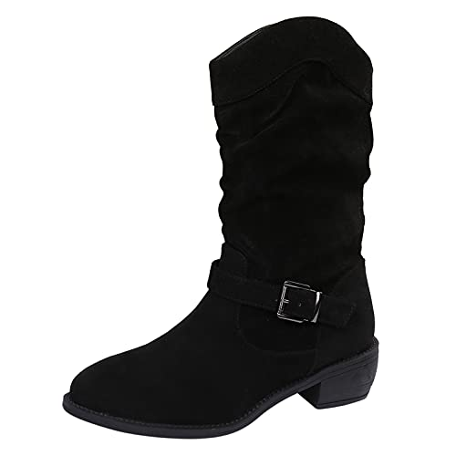 Berimaterry Botas Mujer Media Pierna Casaul Invierno Botas Cowboy de Mujer 2021 Zapatos Mujer Planas Botines de Felpa Moda Botas Slouch Media Pierna Botas niña Botas Mujer Invierno Rebajas Militares