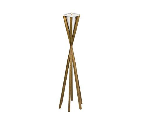 EDZARD Zaklamp, hoogte 101 cm, houten voet, met kaars, verwijderbare trechter en kaarsenkom