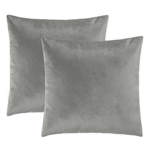 eletecpro Kissenbezüge 45x45cm, 2er Set Samt Kissenbezug mit Verstecktem Reißverschluss, Grau Zierkissenbezug für Sofa und Terrasse Wohnzimmer,Schlafzimmer, Büro in großer Farb- Größenauswahl