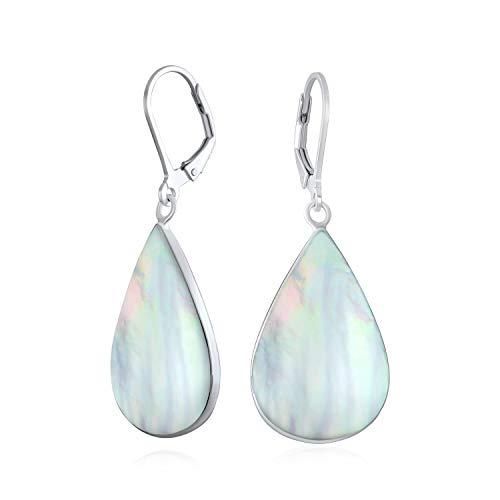 Große schillernde Regenbogen weiße Perlmutt Schale natürliche Birne geformt Teardrop Baumtropfen Leverback Ohrringe für Frauen Teen 925 Sterling Silber