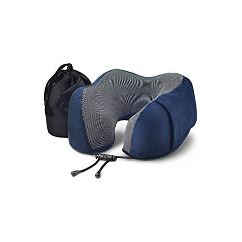 LKNJLL Almohada de Viaje de Espuma de Memoria de Cuello con Tapones para los oídos y máscara de Ojos, Almohada de Viaje de Espuma de Memoria Pura para el reposacabezas de Vuelo, cómoda y Transpirable
