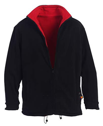 Gioberti Mens Zip Up Reversible Polar Fleece Heavy Jacket, Black/Red, 2X-Large