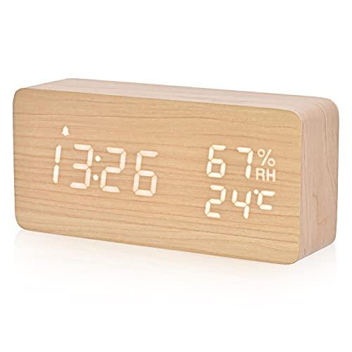 デジタル目覚まし時計 木製置き時計 LED時間表示3目覚まし時計設定 USB給電 き湿度と温度検出電子時計、寝室、ベッドサイドテーブル、机、オフィス、子供、家族に適しています (ナチュラル)