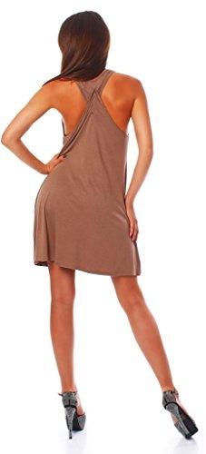 Wil Damen Sommer Kleid Minikleid Top Tunika Trägerkleid mit offenen Schultern mit Kreuz am Rücken Kakao 2XL