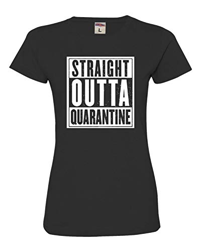Go All Out Small Black Womens Straight Outta Quarantine Deluxe Soft T-Shirt