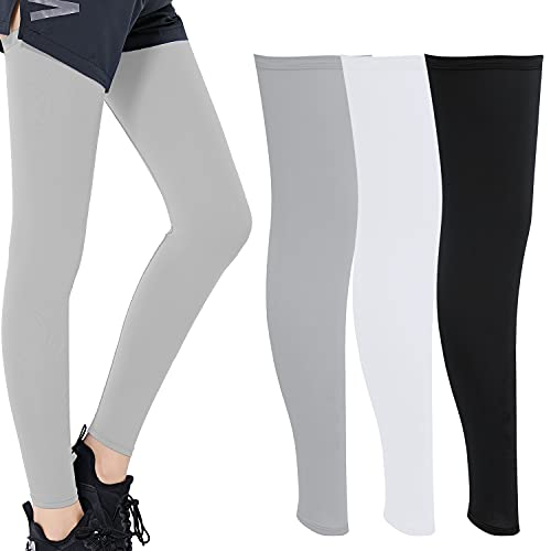 3 Pairs Summer UV Protection Ice Silk Leg Sleeves Non-Slip Sports Running Cycling Long Sleeve Outdoor Sports Cycling