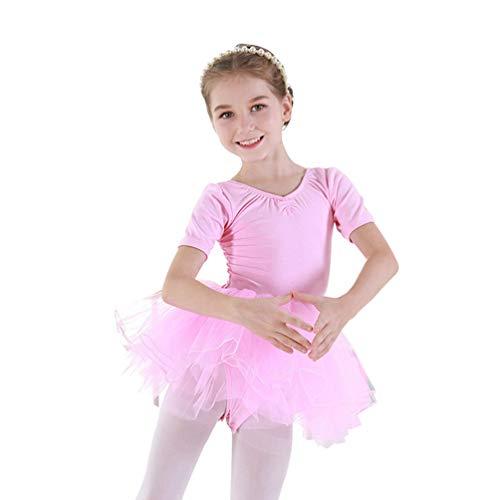 Kaiyei Manga Corta para niñas Detalle de Espalda Ballet Tutu Leotardo Falda Gimnasia Traje de Baile Ropa Rosa 160