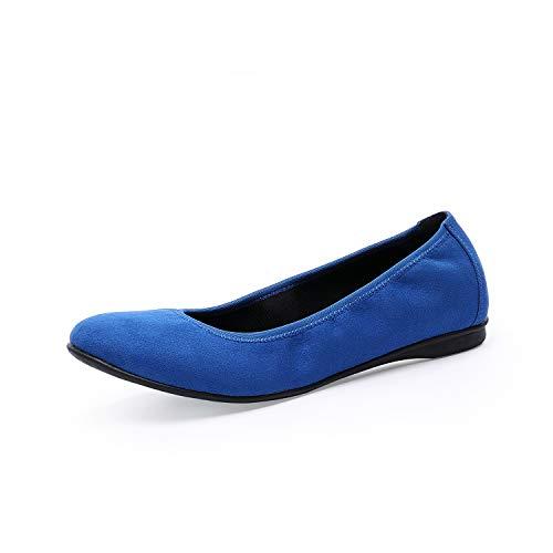 TIHOO Women's Classic Round Toe Ballet Slip On Flat Shoes (11 M US, Blue)