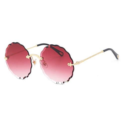 LG Snow Gafas de sol redondas de moda sin borde protección UV400 unisex marco dorado lente degradado de color (color: rojo)