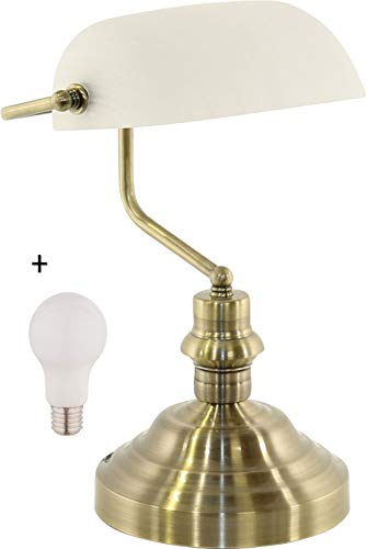 LED bureaulamp messing met glazen kap Bankerlamp White Retro (bureaulamp, bedlamp, hoogte 36 cm, Bankerlamp, 9 Watt)