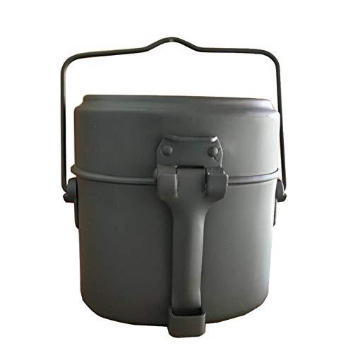 HiColliee 弁当箱 BBQ用 炊飯器 軍用 弁当 軍飯ごう 飯盒 キャンプ用品 サバゲー ミリタリーアイテム 取っ手つき アウトドア