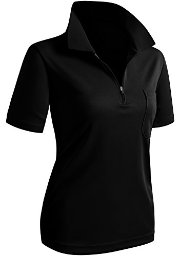 CLOVERY Wicking Material Clothing Functional Fabric Short Sleeve Zipup POLO Shirt BLACK US L/Tag L