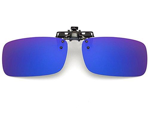 ELSA & ANNA® Polarisierte Sonnenbrillen Unisex Flip-up Klipp auf Sonnenbrille Gläsern Brille VF-GLS01 (Blau Quecksilber)