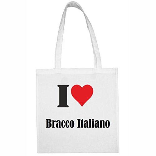 Tasche I Love Bracco Italiano Größe 38x42 Farbe Weiss Druck Schwarz