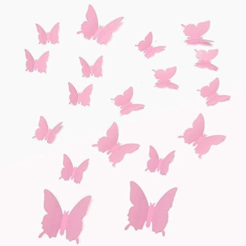 Walplus Rose 3D Papillon Mural Autocollants 12 Pièces Amovible Auto-Adhésif Mural Art Stickers Vinyle Maison Décoration DIY Salon Chambre Bureau Décor Peint Enfants Chambre Cadeau, Rose