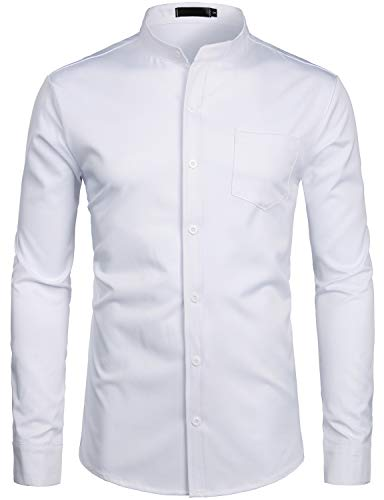 ZEROYAA Men's Banded Collar Slim Fit Long Sleeve Casual Button Down Dress Shirts with Pocket ZLCL09 White Medium