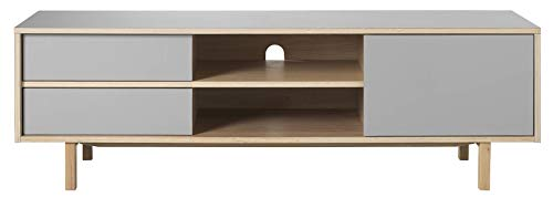 24Designs Harstad TV-Meubel 1 Deur/2 Laden - 160x45x50 - Grijs HPL - Eiken White Wash