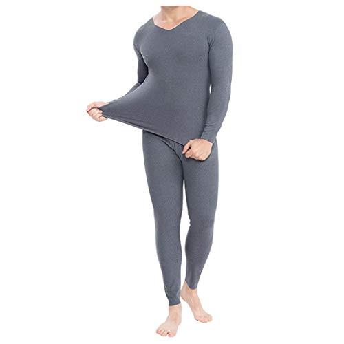 Best Long Johns Set Men Thermal Long Underwear Plus, Napoo Ultra Soft Cotton Base Layer No Line Breathable(Gray,L)