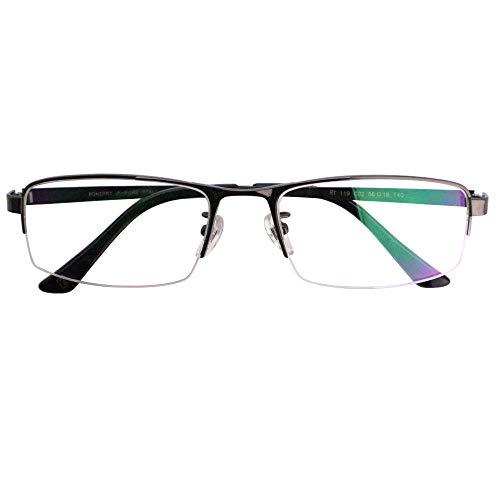 SHOWA ブルーライトカット UVカット 遠近両用メガネ ロネリー チタンナイロール (ガンメタリック) (メンズセット) 全額返金保証 境目のない 遠近両用 眼鏡 老眼鏡 おしゃれ メンズ 男性 リーディンググラス パソコン PC メガネ (瞳孔間距離