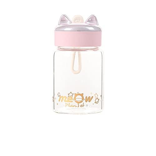 Jituan Taza de agua Mini para mujer, taza de agua de cristal, linda y práctica cuerda de bolsillo, regalo creativo, conveniente botella de agua a prueba de fugas para estudiantes (220 ml) (rosa)