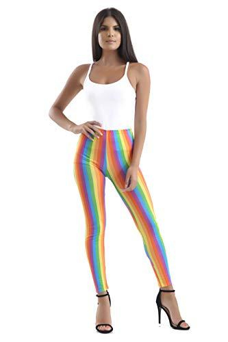 Crazy Chic Damen Regenbogen-Clown-Leggings, Zirkus, Karneval, Karneval, Kostüm-Accessoire Gr. S-M, mehrfarbig
