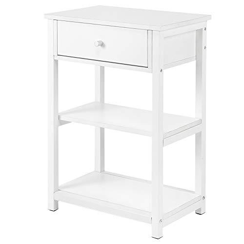 AYNEFY Mesita de noche moderna de madera maciza, color blanco, para uso doméstico, con 1 cajón, 2 estantes, muebles para dormitorio