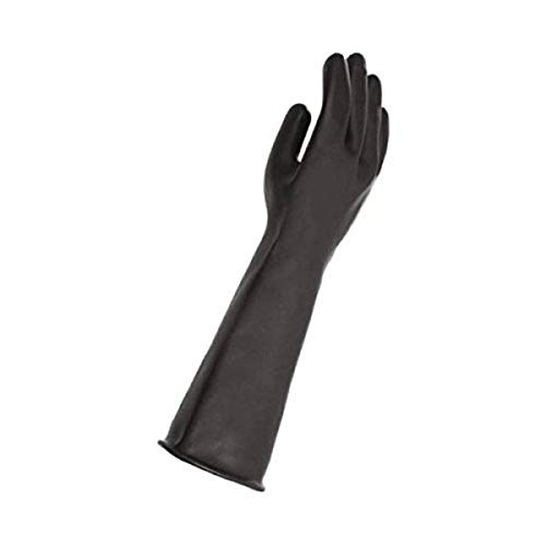 "MAPA Trident 286 Natural Latex Glove, Chemical Resistant, 0.040"" Thickness, 18"" Length, Size 9, Black"