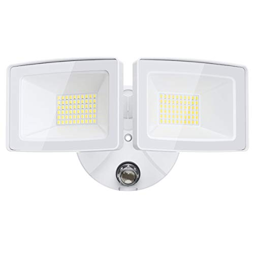 Olafus 5500LM Dusk to Dawn LED Outdoor Lighting, 50W LED Security Lights, IP65 Waterproof Exterior Flood Light with Photocell, Dual Head Outside LED Lamp for Backyard, Garden, Porch, 5000K