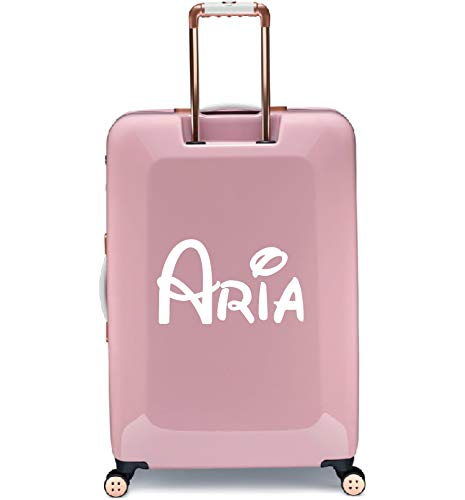 Personalised Disney Inspired Name Kids Suitcase Luggage Sticker Transfer 2 (Small 25cm Width, White)