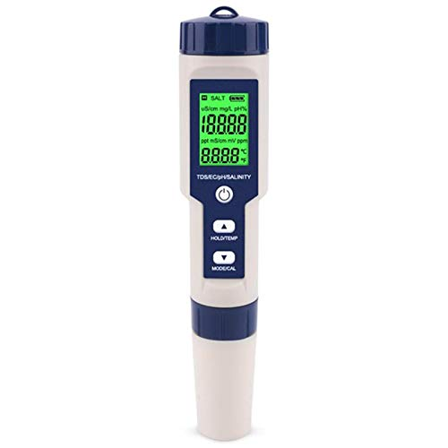 Cimoto 5 en 1 TDS/EC/PH/Medidor de Salinidad/Temperatura Probador de Monitor de Calidad de Agua Digital para Piscinas, Agua Potable, Acuarios con Luz de Fondo