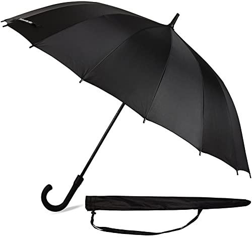 Sternenfunke Ombrello grande XXL nero Ø120 cm, ombrello grande bastone signore e signori nobile stabile stormproof per 2 persone ombrello grande nero ombrello grande nero