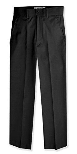 Johnnie Lene Boys Flat Front Slim Fit Dress Pants #JL36 (3T, Black)