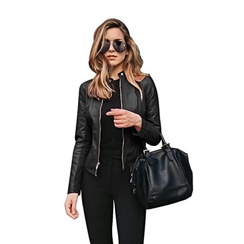 Byqny Schicke Lederjacken für Damen,Elegante Lederjacke Auf Rechnung,Reißverschluss BikerjackeKunstlederjacke Frauen Jacke Multi Größe