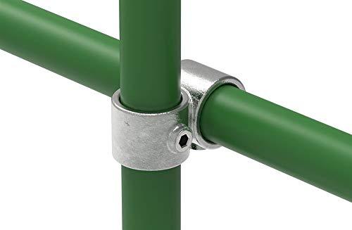 Fenau | T-Kreuzverbinder/Über-Kreuzverbinder, 90° vorgesetzt, offen Ø 33,7 mm, Rohrverbinder, Temperguss galvanisiert, feuerverzinkt, inkl. Schrauben