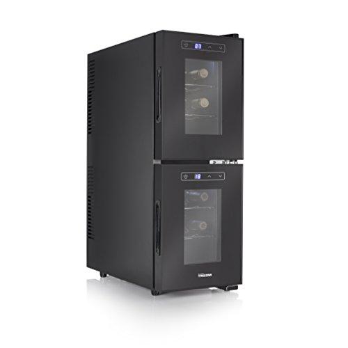 Tristar 2-Zonen Getränkekühlschrank – geeignet für 12 Flaschen, 32 Liter Volumen, 7-18° Celsius, mit LED-Display, Touchbedienfeld, WR-7512