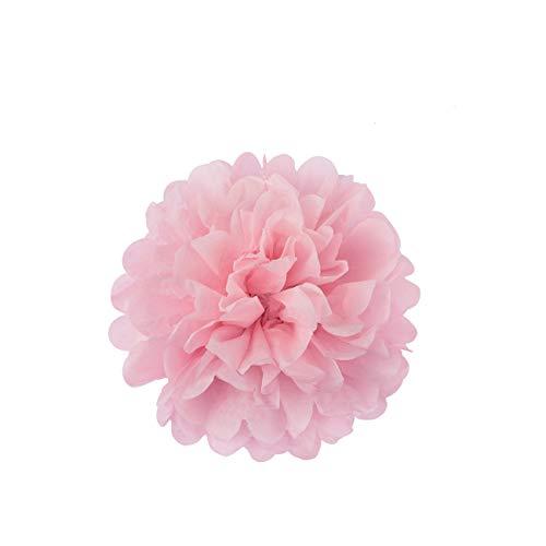 LIHAO 10x Pompom Papier Deko Seidenpapier Pompons Papierblumen Blumenball Deko für Hochzeit Geburtstagsparty Baby Shower Kinderzimmer Hängende 20cm Pink