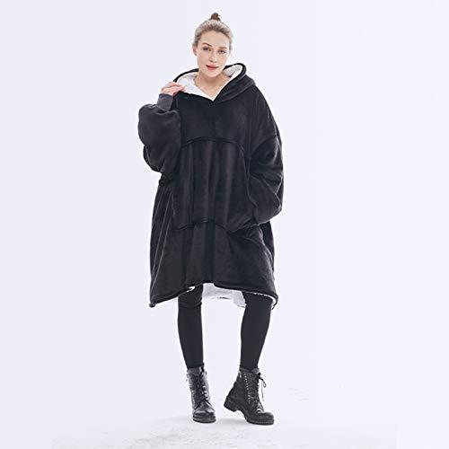 Sudadera con capucha de sherpa de gran tamaño, manta ultra felpa, suave, cálida, cómoda, larga, gruesa, gigante, con capucha, reversible, con bolsillo grande para adultos, hombre, mujer, talla única