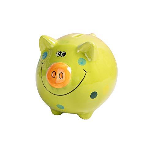 JYPHM Porzellan Sparschwein für Kinder Jungen und Mädchen, Einzigartigen Geschenk Kinderzimmer Dekor Andenken Keramik-Sparschwein, Keramik, grün, 12x12x10cm(5x5x4inch)