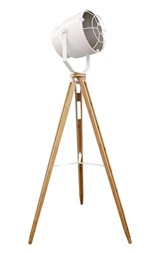 Meubletmoi lamp projector deco staal wit statief hout – Design Industriel Factory – OXO