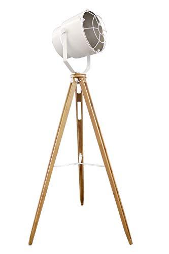 Lámpara de pie proyector Déco acero blanco tripode madera–diseño industrial factory–Oxo