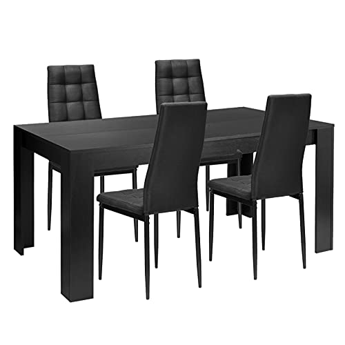 YCHUAN Set de Muebles de Patio, 5pcs Comedor Conjuntos de Comedor Mesa de Comedor y 4 sillas de Tela Cocina Moderna