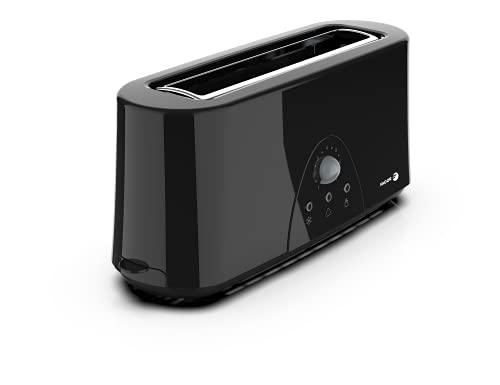 FAGOR - Tostador LONGTOAST de una ranura larga 980W de potencia y exterior completo negro birllante. 7 niveles de tostado. 3 funciones integradas.