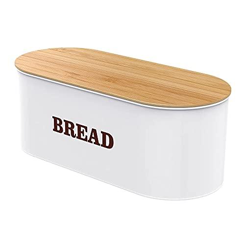 DSBN Supporto per Il Pane per la Cucina Controsoffitto Metal Bread Box Box Organizer con Coperchio di bambù (Bianco)