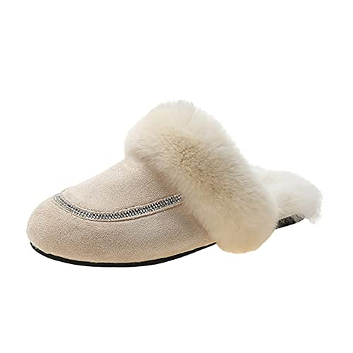 URIBAKY - Zapatillas de exterior para mujer, transpirables, color puro, antideslizantes, para interior y exterior, cálidas, de peluche, beige, 38 EU