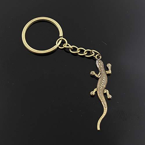 MEIHEK Männer 30mm Schlüsselbund DIY Metallhalter Kette Vintage Eidechse Gecko 56x15mm Silber Farbe Anhänger Geschenk Bronze