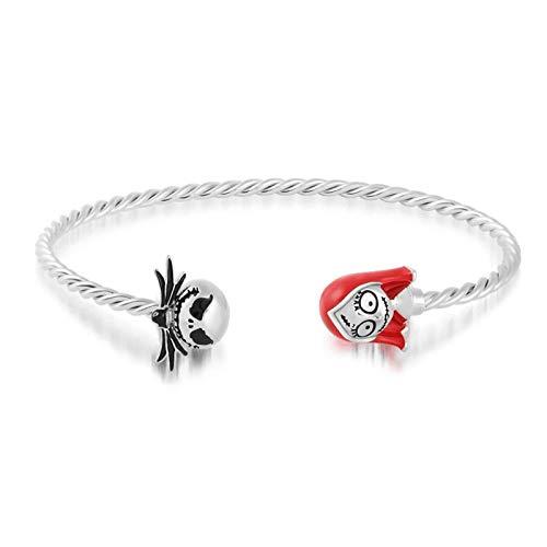 GNOCE Jack Schädel Armband 925 Sterling Silber Armreif mit Mädchen Schädel offen Manschette Armreif Mode Schmuck Geschenk für Frauen Mädchen
