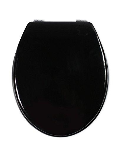 Vetrineinrete® Copriwater universale in legno MDF tavoletta da bagno wc con cerniere in acciaio inox resistente 52970 (Nero) P73